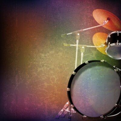 Naklejka abstract grunge background with drum kit