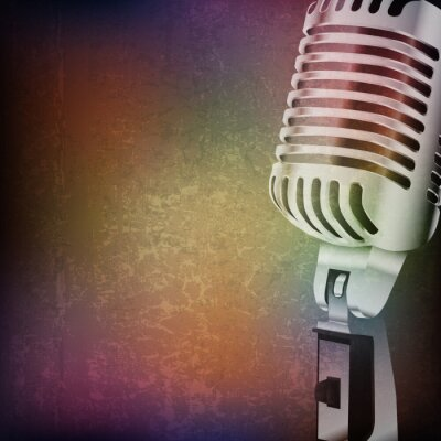 Naklejka abstract grunge background with retro microphone