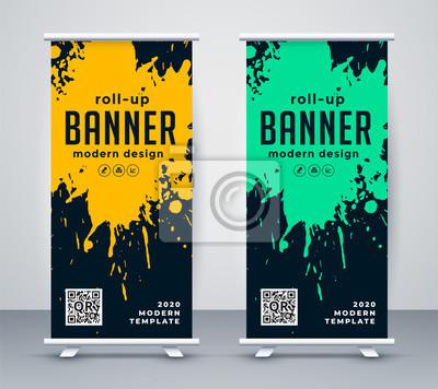 abstract ink splash rollup banner design