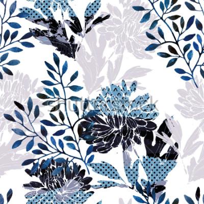Naklejka Abstract kwiatowy wzór. Akwarela kwiaty, liście wypełnione minimalnymi doodle tekstury. Naturalne tło. Ręcznie malowane jesień ilustracja do tkanin, włókienniczych, zawijanie projekt