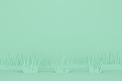 Abstract mint background with grass. Backdrop design for product promotion. 3d rendering
