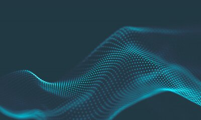 Naklejka  Abstract Music background. Big Data Particle Flow Visualisation. Science infographic futuristic illustration. Sound wave. Sound visualization