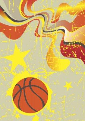 Naklejka Abstract pionowy baner koszykówki z żółtymi gwiazdami