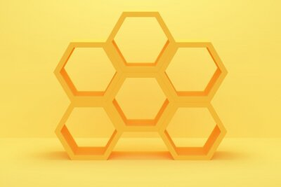 Abstract polygonal shelf on yellow background. 3d rendering