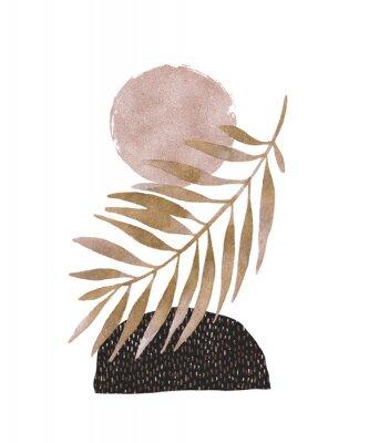 Naklejka Abstract poster design: minimal shapes, glossy golden tropical leaf.