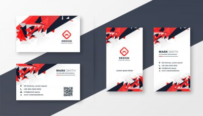 abstract red and black business card design