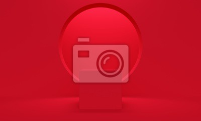 Abstract red background with square platform and window. 3d rendering