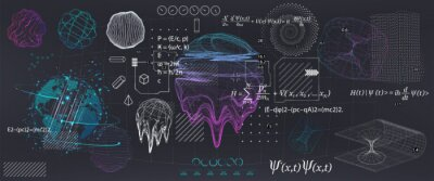 Naklejka Abstract Science elements with fundamental Quantum Mechanics formulas. Curvature of spacetime in a gravitational field, black hole, elements from theoretical physics. Vector collection elements