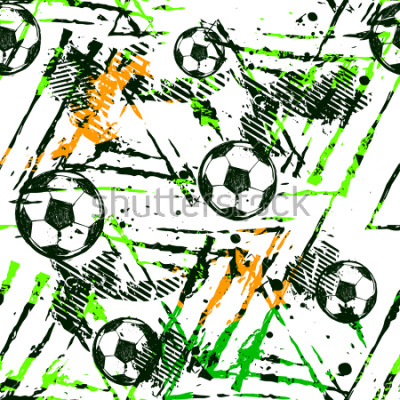 Naklejka Abstract seamless football pattern. Sport game wallpaper. Set of Soccer ball on grunge urban background,curved lines, shabby shape texture,  spray paint ink elements. boy repeated backdrop