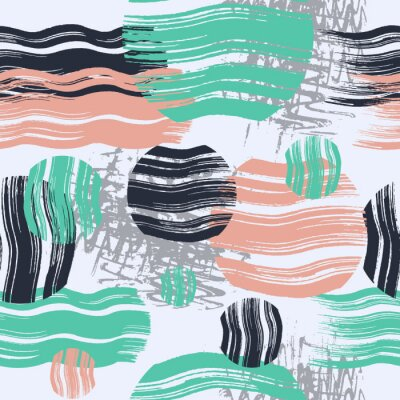 Naklejka Abstract seamless pattern design with colorful brush textured circles