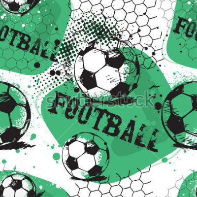Naklejka Abstract seamless pattern for boys. Football pattern. Grunge urban pattern with football ball. Sport wallpaper on white background with black and green. Repeated sport pattern.