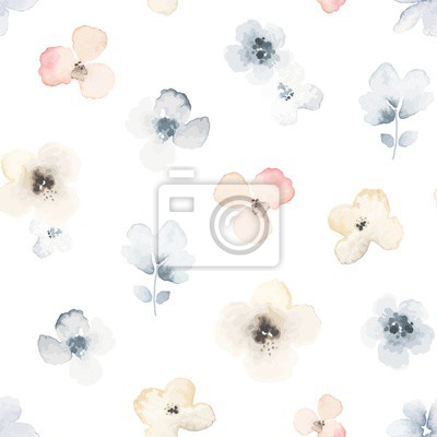Abstract seamless pattern with primitive wildflowers. Vector floral illustration in vintage style.
