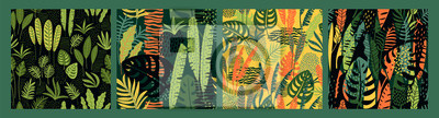 Naklejka Abstract seamless patterns with tropical leaves. Hand draw texture.