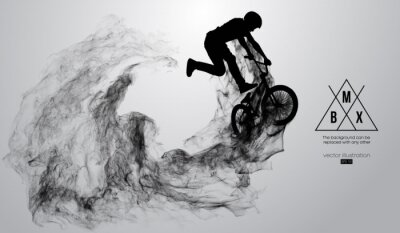 Naklejka Abstract silhouette of a bmx rider on the white background from particles, dust, smoke, steam. Bmx rider jumps and performs the trick. Background can be changed to any other. Vector illustration