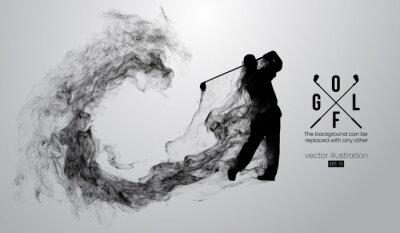 Naklejka Abstract silhouette of a golf player, golfer on the white background from particles, dust, smoke, steam. Golfer kicks the ball. Background can be changed to any other. Vector illustration