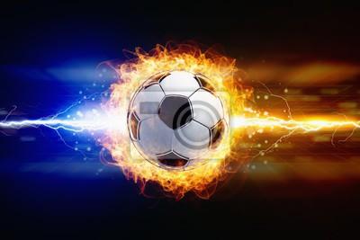 Abstract soccer background - Jasne potężne błyskawice strajku spalania piłki nożnej