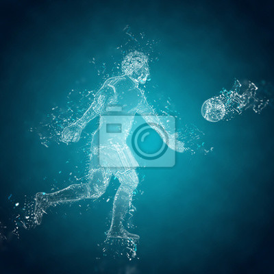 Abstract soccer bramkarz wykopuje piłkę. Efekt Kryształ lodu