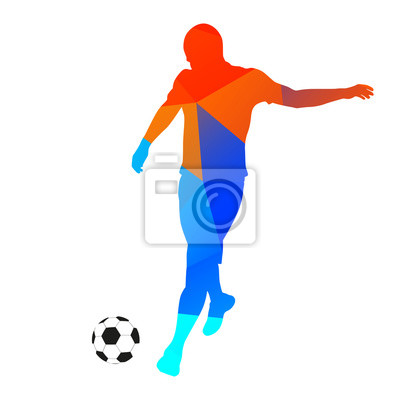 Abstract soccer player kicking the ball