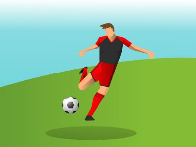 Abstract soccer player quick shooting a ball. Vector illustration