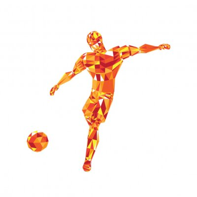 Abstract soccer player voley shoot, triangulation low poly illustration
