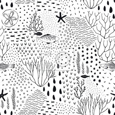 Abstract texture seamless pattern of fishes, starfishes, corals, dots, drops, doodle circles. Vector black illustration on white background.