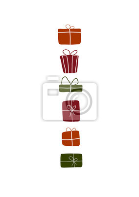 Abstract trendy christmas new year winter holiday birthday card with xmas gift box