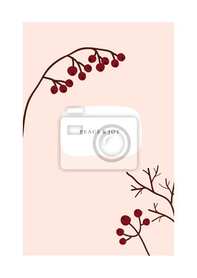 Abstract trendy christmas new year winter holiday card with xmas branch red berries