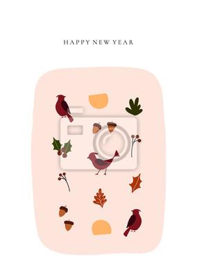 Abstract trendy christmas new year winter holiday card with xmas cardinal bird