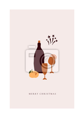 Abstract trendy christmas new year winter holiday card with xmas champagne with glasses