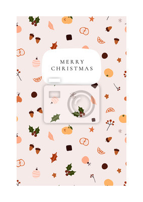 Abstract trendy christmas new year winter holiday card with xmas gifts