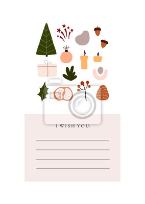 Abstract trendy christmas new year winter holiday card with xmas tree