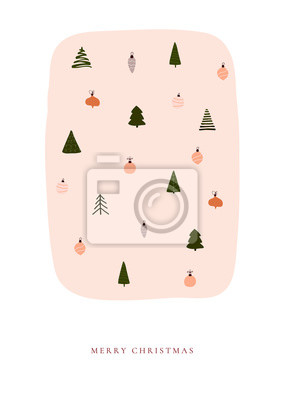 Abstract trendy christmas new year winter holiday card with xmas tree and balls