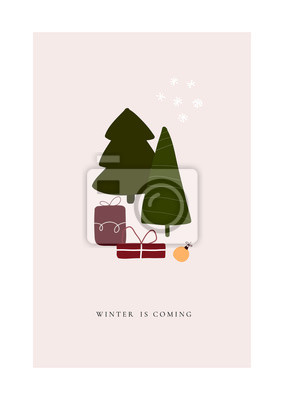 Abstract trendy christmas new year winter holiday card with xmas tree gifts