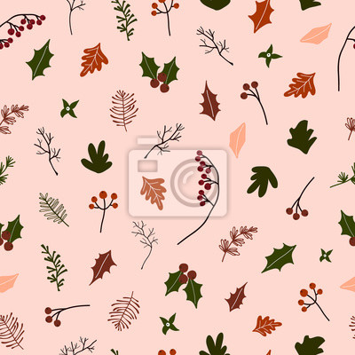 Abstract trendy christmas new year winter holiday seamless pattern with xmas branch holly jolly red brries