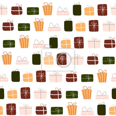 Abstract trendy christmas new year winter holiday seamless pattern with xmas gift boxes