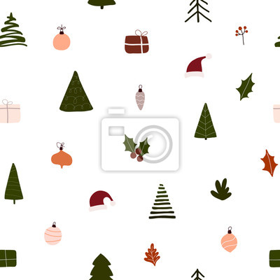 Abstract trendy christmas new year winter holiday seamless pattern with xmas trees balls gift boxes