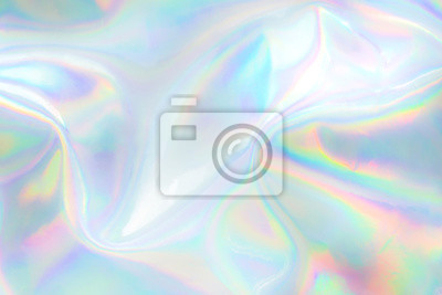 Naklejka Abstract trendy holographic background. Real texture in pale violet, pink and mint colors with scratches and irregularities