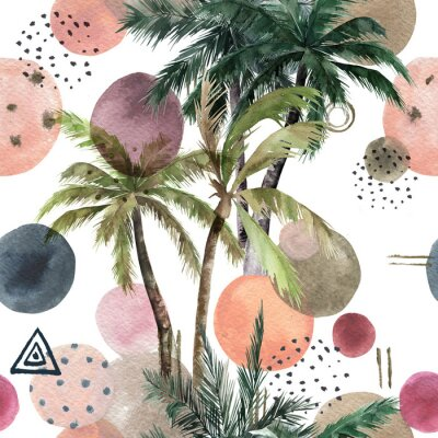 Naklejka Abstract tropical pattern with palm trees. Watercolor seamless print. Geometric summer background
