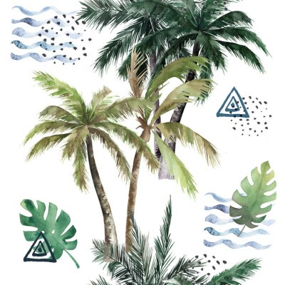 Naklejka Abstract tropical pattern with  palm trees. Watercolor seamless print. Jungle summer  background