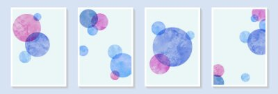 Abstract watercolor pink and blue circle shapes on white background. hand drawn art with watercolor stain and shape elements vector EPS10. Design for wall decoration, postcard, poster or brochure