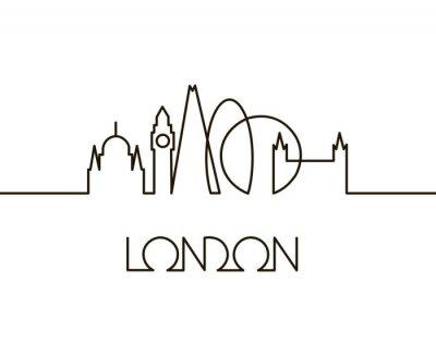 Naklejka abstrakcjonistyczna liniowa ilustracja Londyński miasto na białym tle
