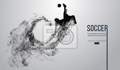 Abstrakcjonistyczna sylwetka gracz futbolu na białym tle od cząsteczek. Piłkarz z systemem skoki z piłką. Liga światowa i europejska. Tło można zmienić na dowolne inne. Wektor