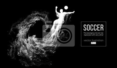 Abstrakcjonistyczna sylwetka gracz futbolu na ciemnym czarnym tle od cząsteczek. Piłkarz z systemem skoki z piłką. Liga światowa i europejska. Tło można zmienić na dowolny inny wektor