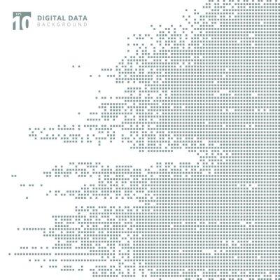 Naklejka Abstrakcjonistycznej technologii cyfrowych danych kwadrata piksla popielaty deseniowy tło.