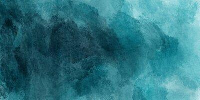 Naklejka Abstrakcjonistyczny akwareli farby tło cyraneczka koloru błękitem i zielenią z ciekłą płynną teksturą dla tła, sztandar