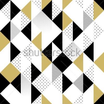 Naklejka Abstrakcjonistyczny Bezszwowy wzór. Bezszwowy wzór z trójbokami. Złoto czarno-biały trójkąt Wzór. Ilustracji wektorowych