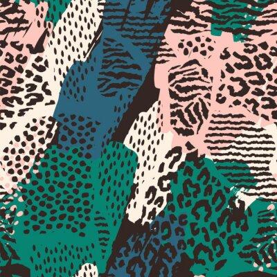 Naklejka Abstrakcjonistyczny bezszwowy wzór z zwierzęcym drukiem.