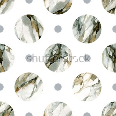 Naklejka Abstrakcjonistyczny geometryczny tło. Malowanie marmurem w kolorze wody. Wzór koło akwarela. Koła z marmurkowatymi, ziarnistymi, papierowymi teksturami w kolorze wody. Ręcznie malowane ilustracja