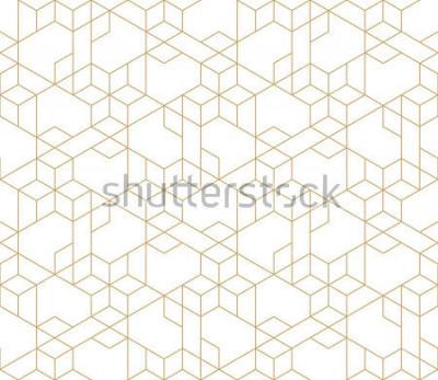 Naklejka Abstrakcjonistyczny geometryczny wzór z skrzyżowaniem cienkie złote linie na białym tle. Bezproblemowa relacja liniowa. Stylowa fraktalna tekstura. Wektor wzór do wypełnienia tła, grawerowanie laserow
