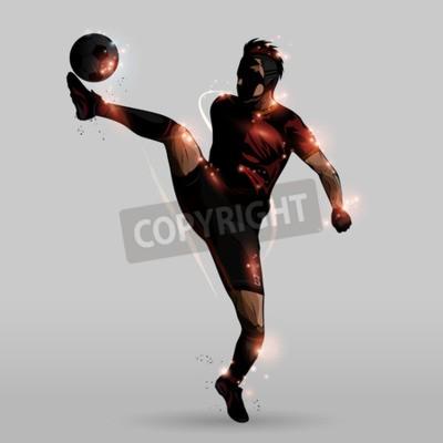 Abstrakcjonistyczny gracza piłki nożnej kopanie w powietrzu